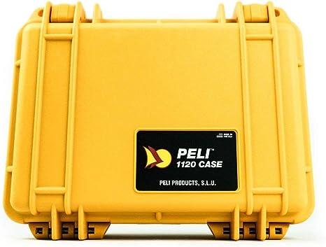 PELI 1120 Caja de Transporte estanca para Objetos frágiles, IP67 estanca e Impermeable al Polvo, 2L de Capacidad, Fabricada en EE.UU, sin Espuma, Color Amarillo: Amazon.es: Electrónica