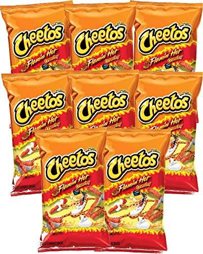 Cheetos Flamin Hot' Crunchy Cheese Snacks, 2 ounce bags (Pack of 8)