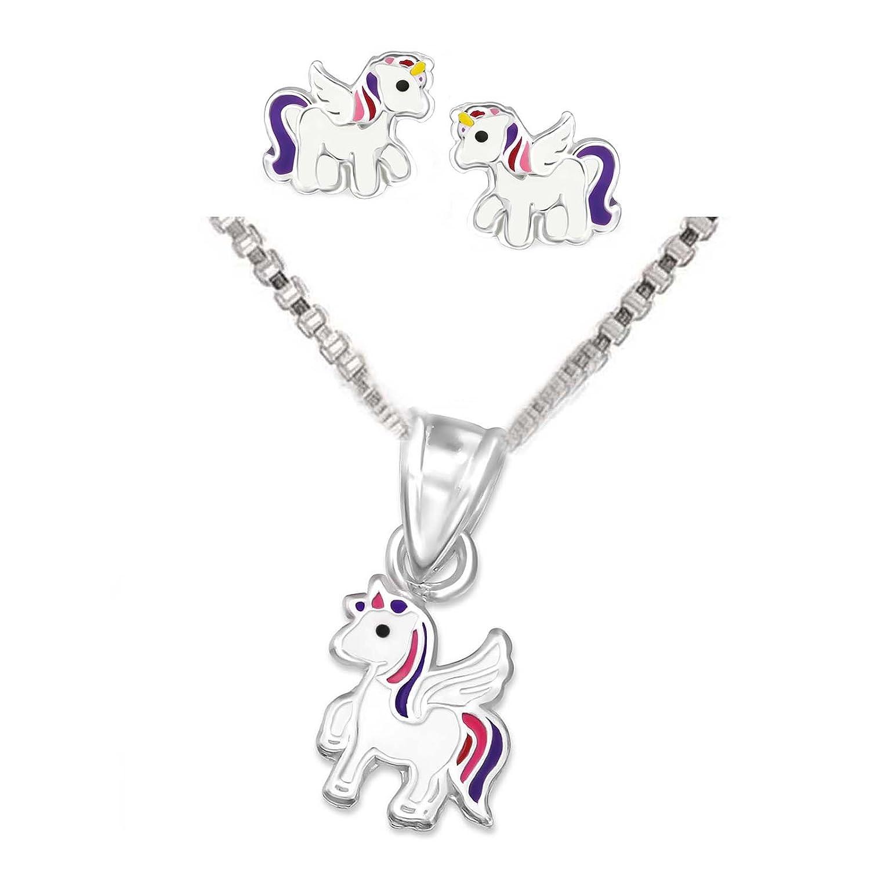 SL-Silver Parure pour enfant comprenant une chaîne, une paire de boucles d'oreille et un pendentif licorne en argent sterling925 avec cristaux, dans un coffret cadeau set76a