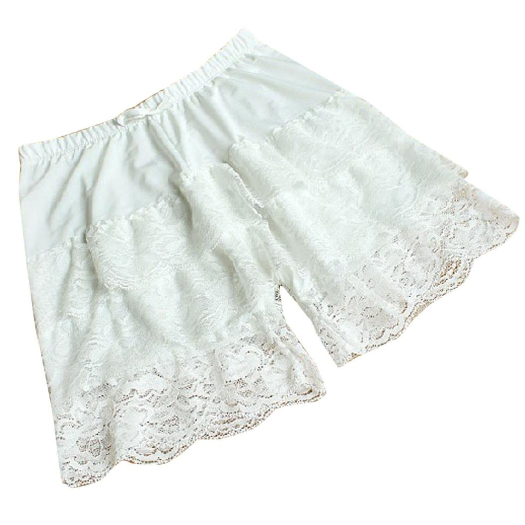 Vertily Underwear Women's Lace Frilly Ruffle Safety Pants Stretch Short Leggings GWEG-4GES