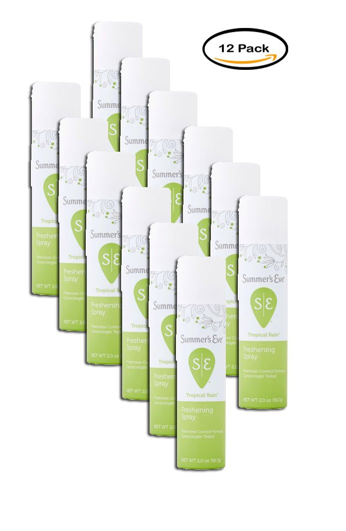 PACK OF 12 - Summer's Eve Tropical Rain Deodorant Spray 2 Oz Aerosol Can