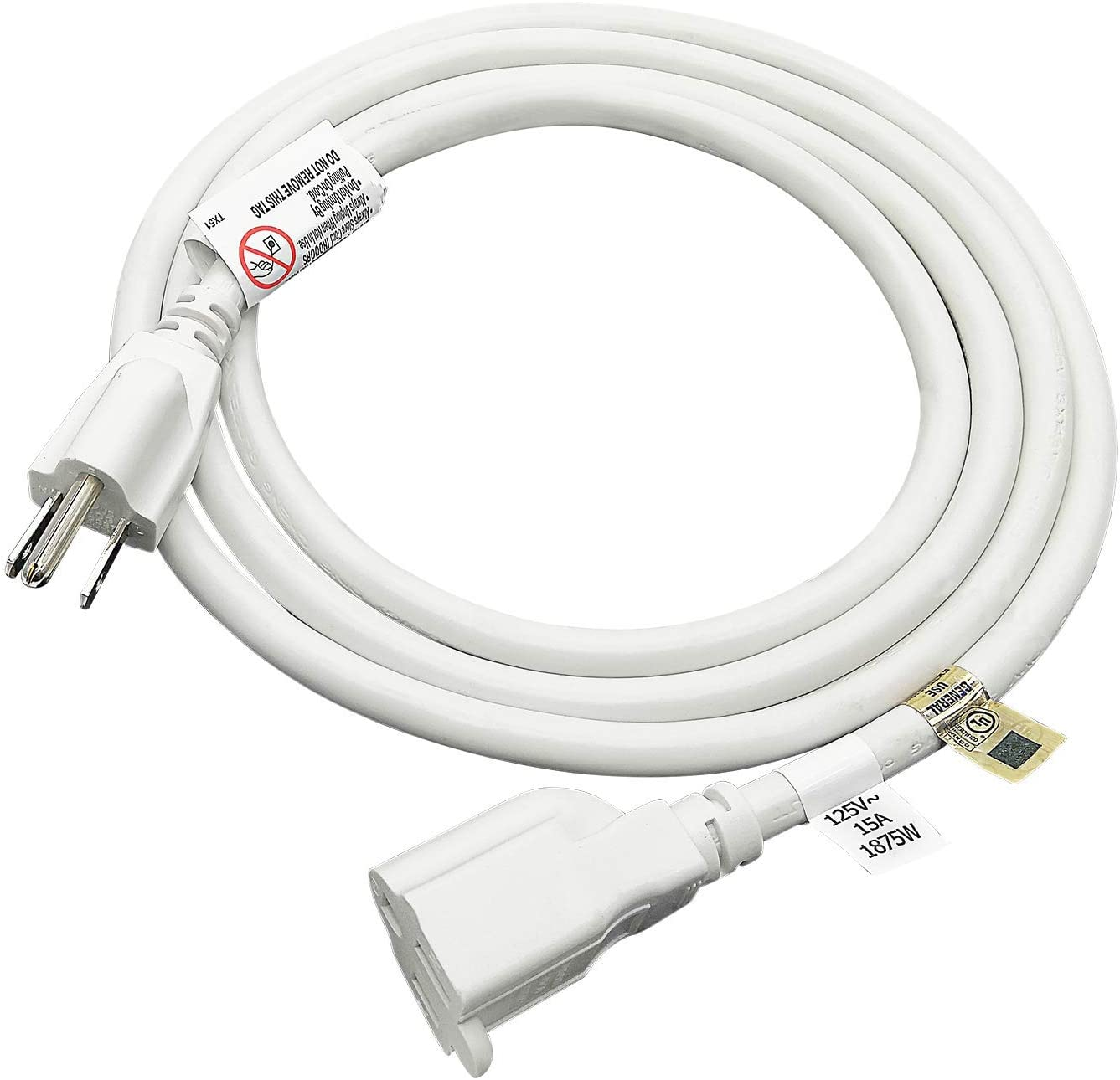 FIRMERST 1875W Heavy Duty Extension Cord 6 Feet 14 AWG 15A White, UL Listed
