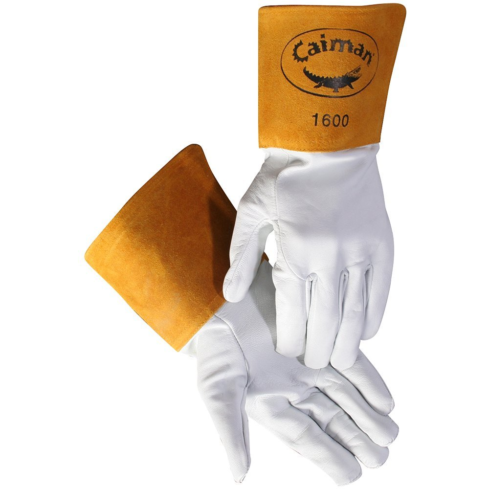 Caiman White Goatskin, Long Cuff, Welding-Tig/Mig Large by Caiman
