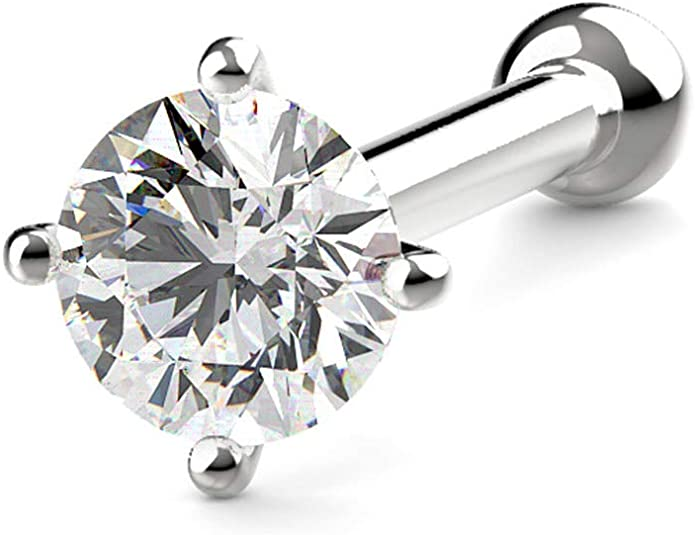 0.05 Ct Diamond White Gold 20G KIMANA Nose Bone Ring Stud 2.5mm