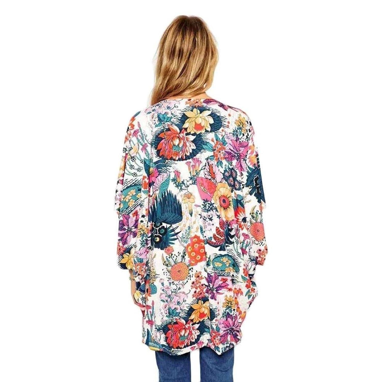 Sunward Chiffon Cardigan, Flower Print Open Front Shawl Kimono ...