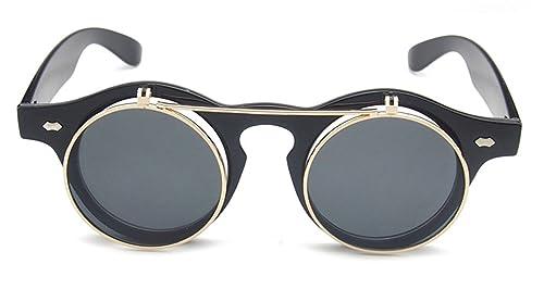 Gafas de sol da Steampunk , Metálico Retro Flip Up Redondo Gafas (Negro)