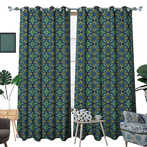 Warm Family Vintage Patterned Drape for Glass Door Western Culture Inspired Artistic Mosaic Floral Tiles Pattern Waterproof Window Curtain W108 x L84 Cobalt Blue Apple Green Teal -
