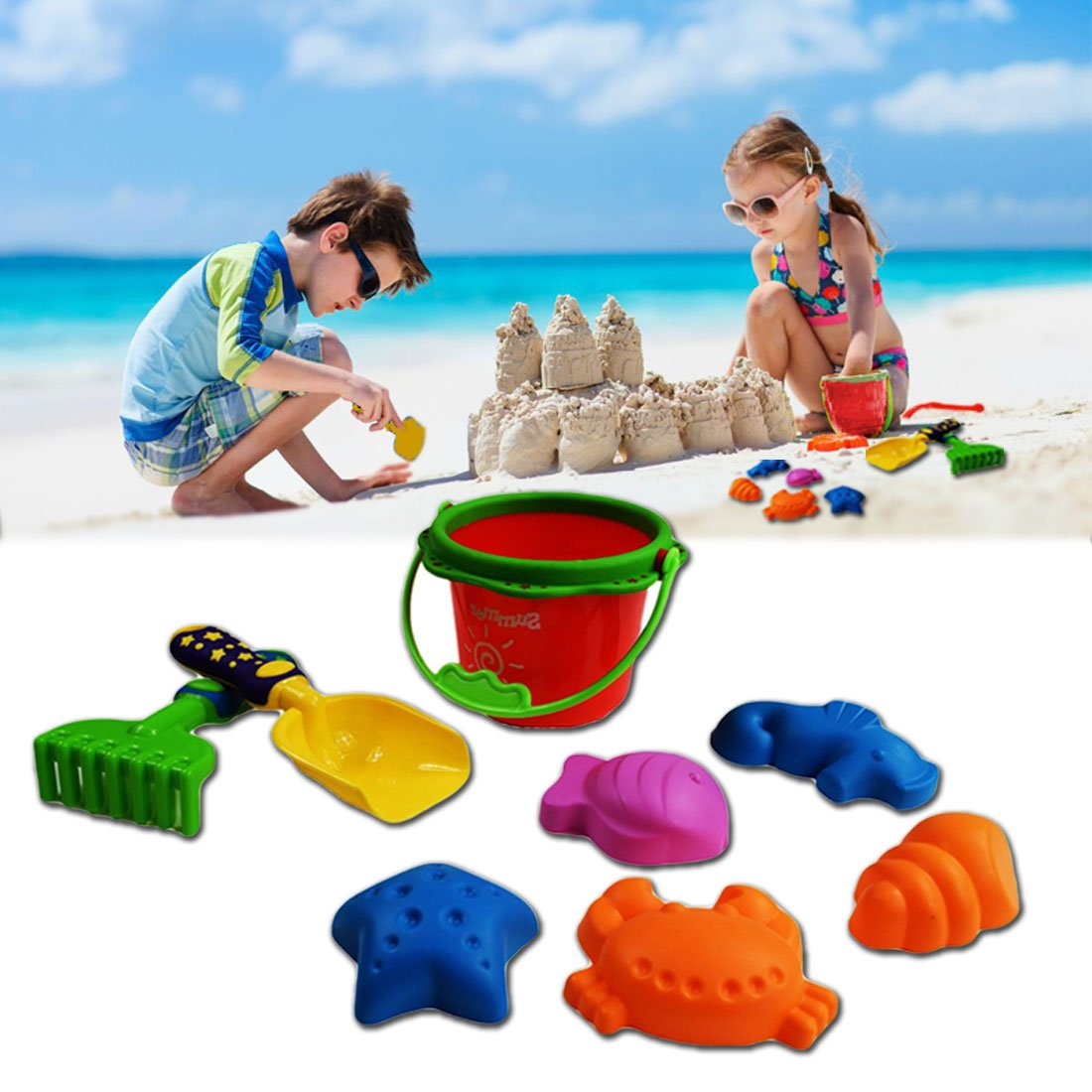 8 Piece Sand Play Set - Bucket, Shovel, Rake, and Sea Critter Molds, 8 Piece Colorful Compact Kit, Perfect for Beach, Water, Sandbox or Sand Table, by Dazzling Toys