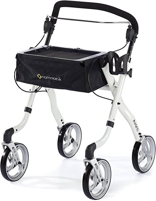 Comodità Avanti Unique One or Two-Hand Operation Lightweight Rolling Walker / Rollator (Metallic White)