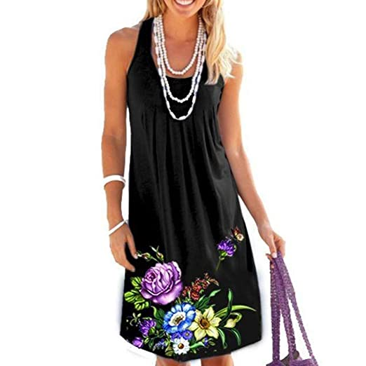 3ede3ed2a35 Dress❤️Jonerytime❤ Fashion Women O-Neck Sleeveless Flower Printing Fold  Easy Mini