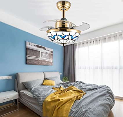 Huston Fan Indoor Mediterranean Retractable Ceiling Fan Light for Kid  Children Bedroom Kindergarten 3 Color Changing-White Warm Neutral,  Invisible Fan ...