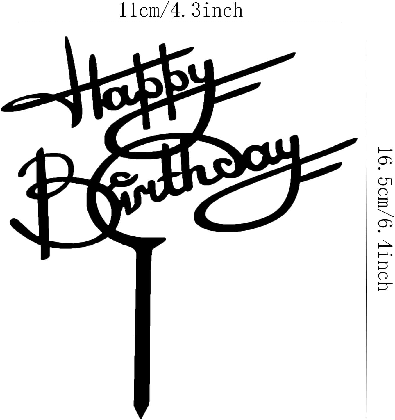 Happy Birthday Cake Topper Black Creative Cake Supplies Party Essential Decorations Birthday Party Decoration