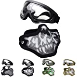Outgeek Airsoft Half Face Mask Steel Mesh and Goggles Set for Halloween Cosplay Xmas Party