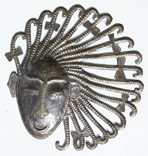 African Mask, Handmade of Recycled Steel Oil Drum Metal, Haiti Art and Crafts, 10 1/4