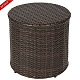 Outdoor Wicker Ottoman Small Patio Furniture Round Footrest Coffee Table Stool Seat Espesso Brown Modern Rest Hassock Lawn And Garden Backyard All Weather Resistant Rattan And eBook By NAKSHOP