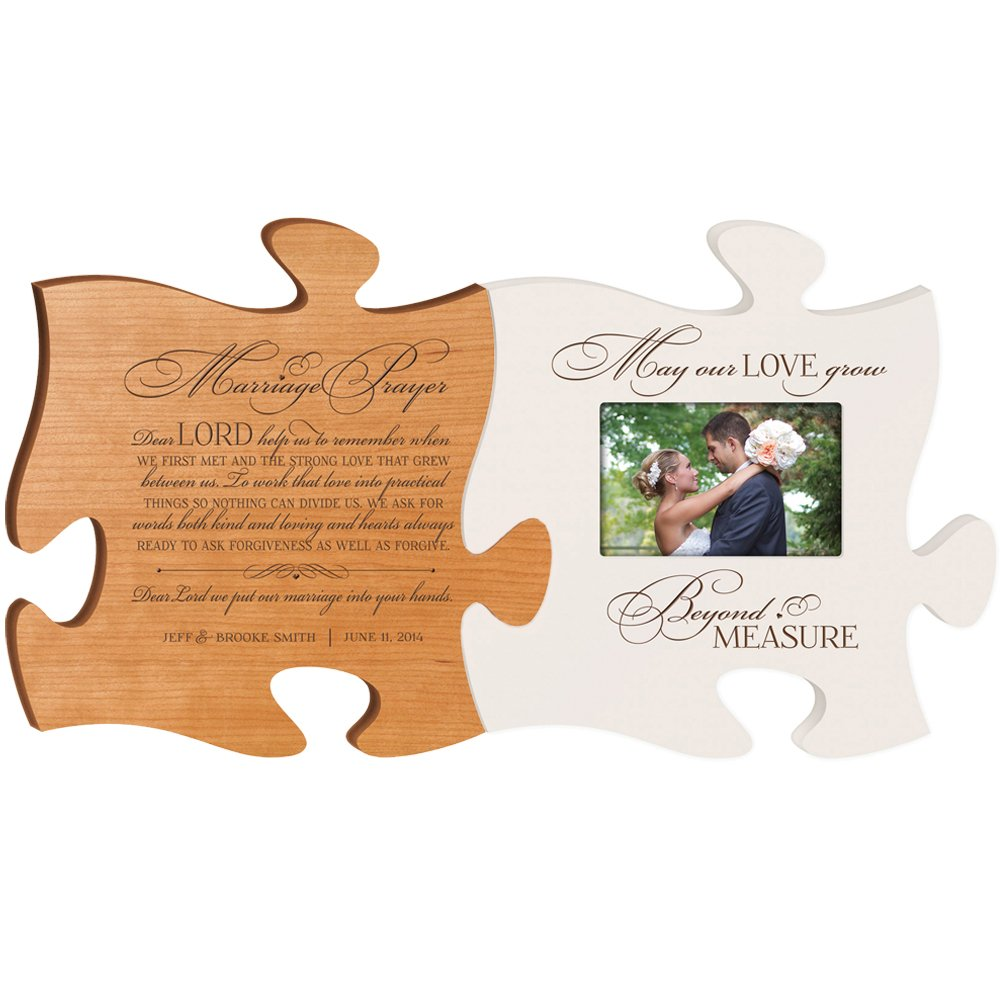 Wedding Photo Frame Personalized Wedding Gift '' Marriage Prayer plaque with May Our Love grow beyond measure Photo Frame Puzzle Set Custom Engraved Bridal Shower Gifts Made in USA picture frame holds 4x6 photo Exclusively from DaySpring Milestones
