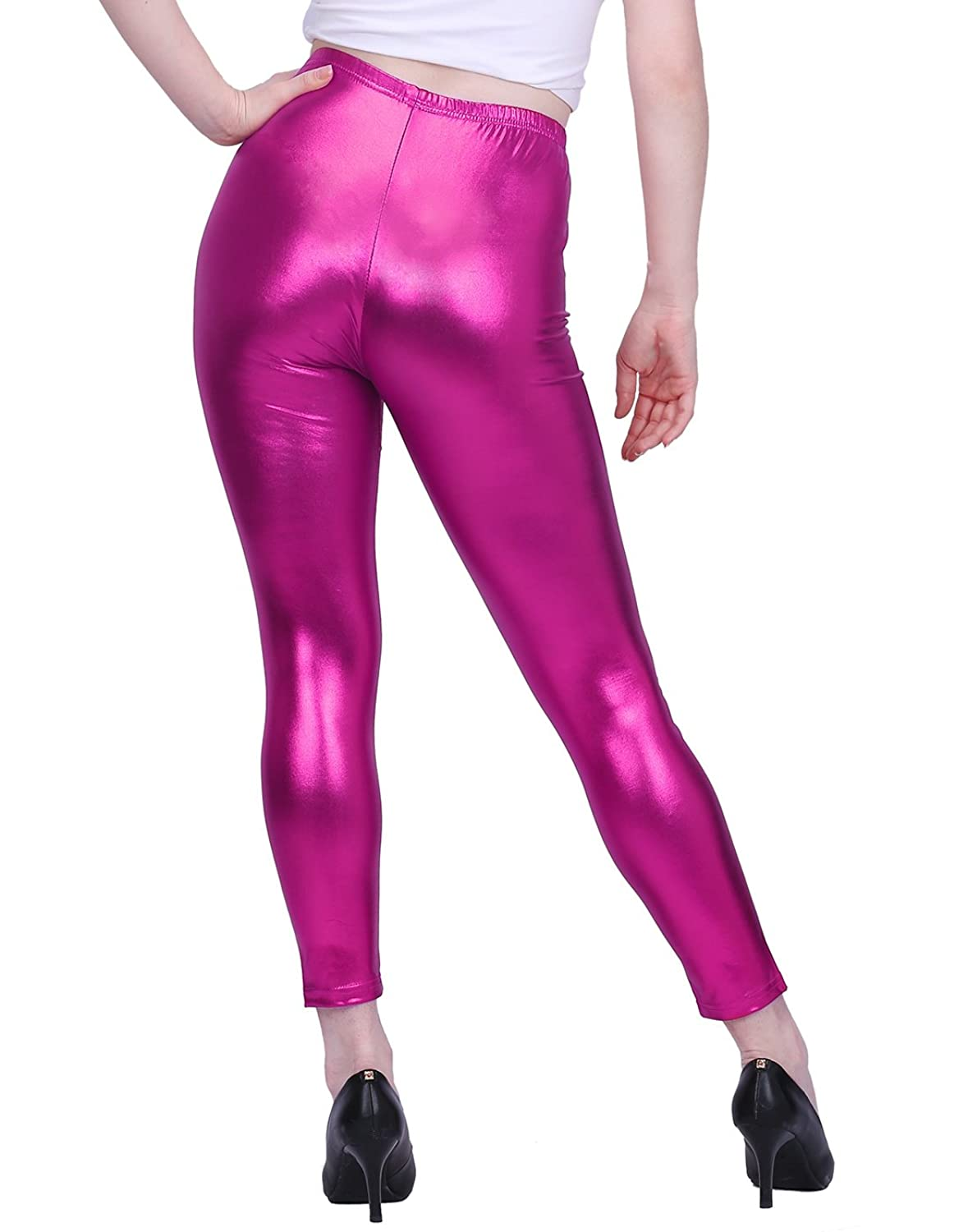 Vintage High Waisted Trousers, Sailor Pants, Jeans HDE Womens Shiny Leggings Metallic Liquid Wet Look Stretch Pants Clubwear $13.99 AT vintagedancer.com