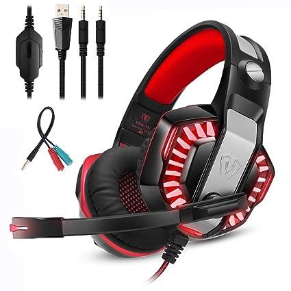 Mengshen Auriculares para Juegos para PS4 Xbox One, Auriculares con Micrófono, Sonido Envolvente De Bajos Estéreo y Luz LED para Laptop, Mac, Juegos ...