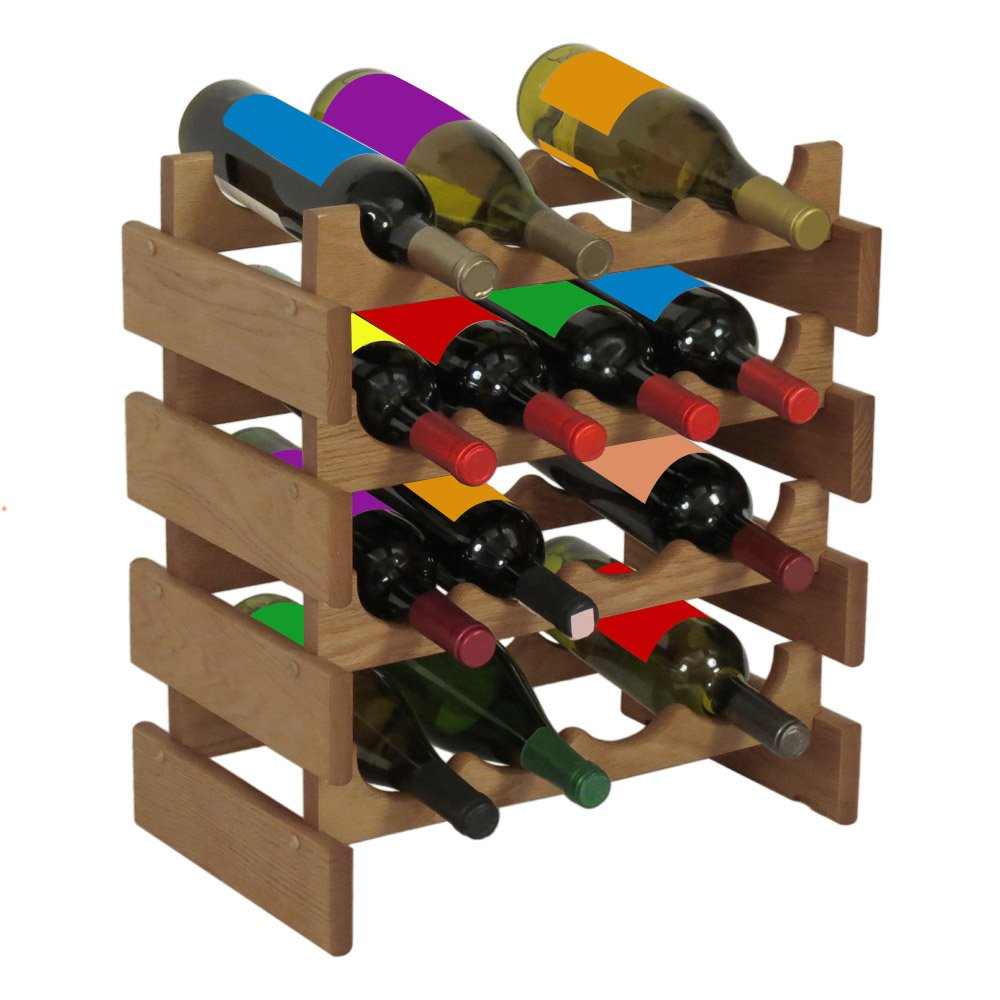 Wooden Mallet 28-Bottle Dakota Wine Rack, Light Oak by Wooden Mallet
