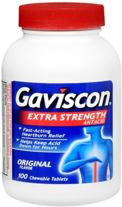 Gaviscon Tablets Extra Strength Original Flavor 100 Tablets (Pack of 11)