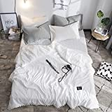 Trasign Solid Thin Comforter Cotton Lightweight Kids Quilt Twin Modern Pompoms Design Breathable Bed Blanket (White, Twin)