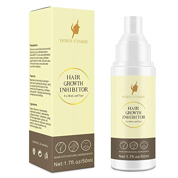 Hair Growth Inhibitor 50ml Upgraded,Hair Stop Growth Spray,Non-Irritating Painless Hair Inhibitor Spray for Body and Face,Underarm,Arm,Leg for Men and Women