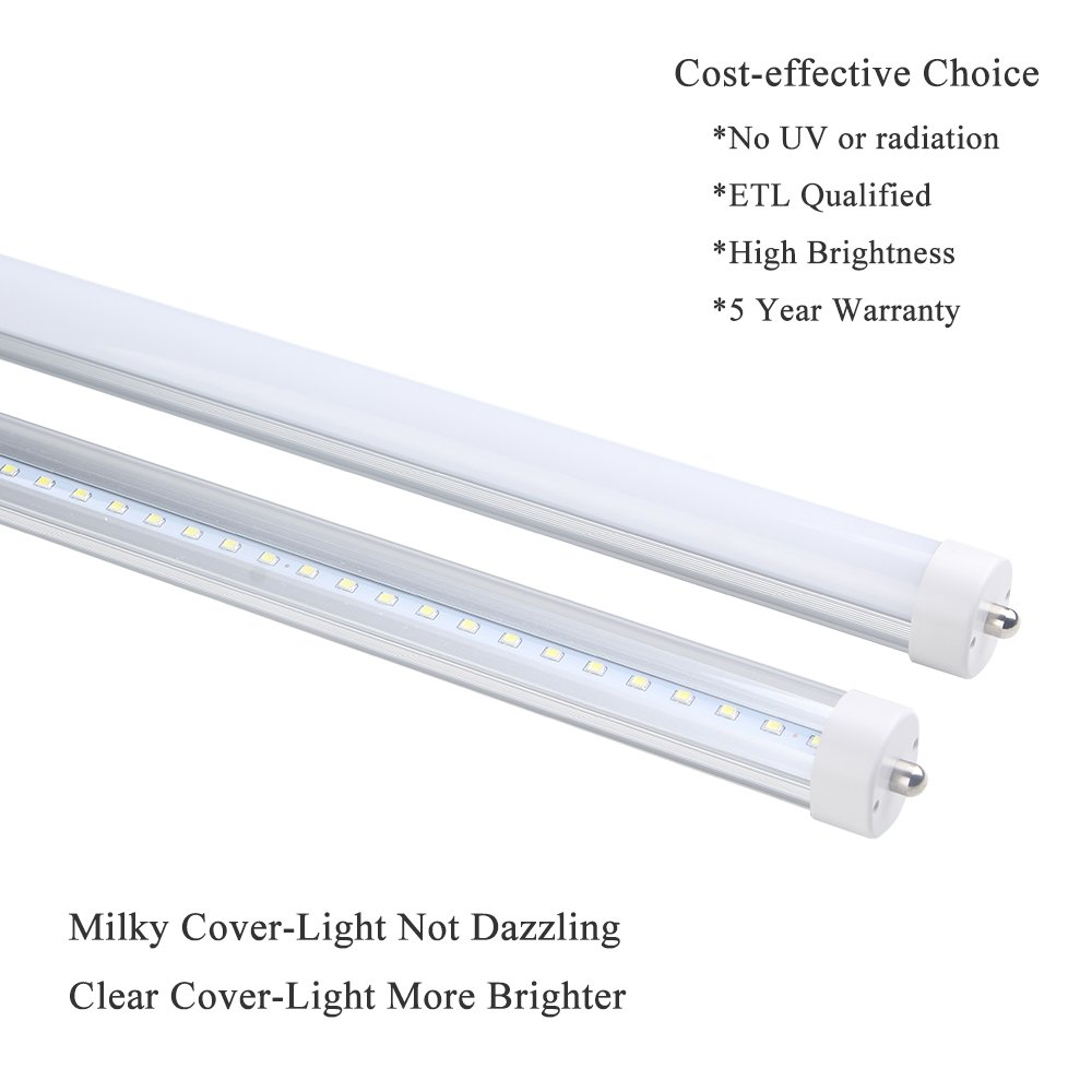 ETL T8 T12 LED 8ft Tube Light F96T8 F96T12 LED Bulb 96'' FA8 Single Pin LED Fluorescent Replacement, ONLYLUX (100W Fluorescent Equivalent), AC85-277V, 6500K CW Daylight Milky Cover, 10 Pack by ONLYLUX (Image #3)