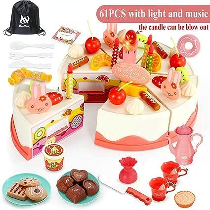 Excellent Amazon Com Henmerry 61 82 Pcs Diy Cutting Birthday Cake Toys Personalised Birthday Cards Veneteletsinfo