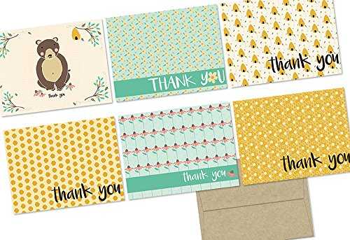 - 72 Note Cards - Honey Bear - 6 Designs - Blank Cards - Kraft Envelopes Included