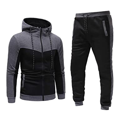 6c9fb3a54a3 Men's Tracksuit Set Camouflage Sweatshirt Jogger Sweatpants Warm Sports  Suit (Dark Grey, ...