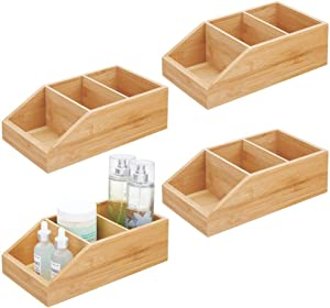 mDesign Bamboo Wood Compact Bathroom Storage Organizer Bin Box - 3 Divided Sections - Cabinets, Shelves, Countertops, Bedroom, Kitchen, Laundry Room, Closet, Garage, 4 Pack - Natural/Tan