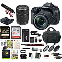 Canon EOS 80D Video Creator Kit with EF-S 18-135mm IS USM Lens + Rode Microphone + Power Zoom Adapter + 2 x 32GB SD Cards + Photo Editing Software + Advanced Professional Accessory Bundle