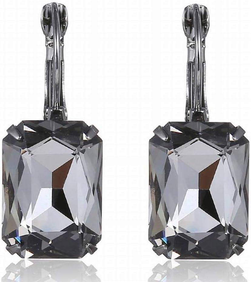 Thumby Pendientes de Piedras Preciosas de Cristal de Navidad Pendientes, Gris