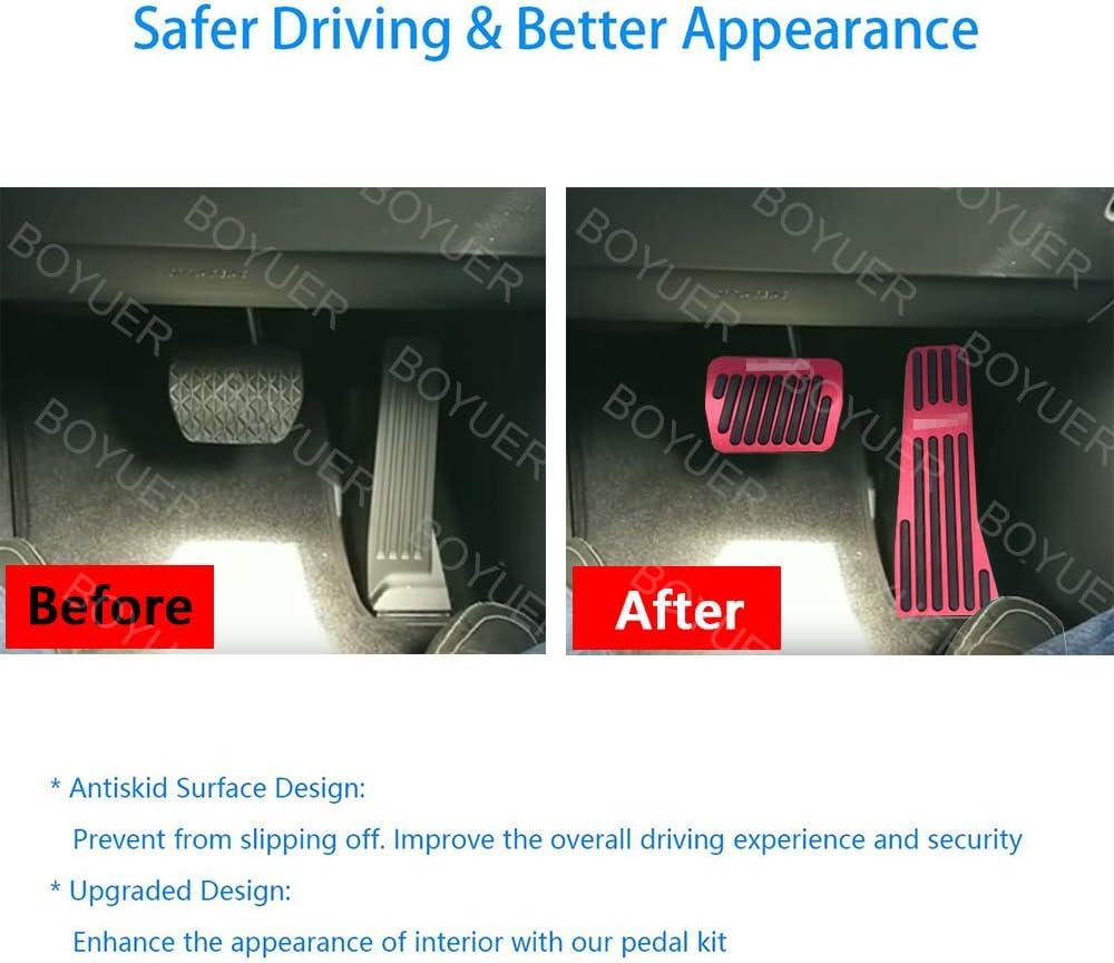 BOYUER 2PCS Anti-Slip No Drilling Aluminum Gas Accelerator Brake Pedal Covers Foot Pedal Pads Kit For Mazda MAZDA3 2019 2020 Blue