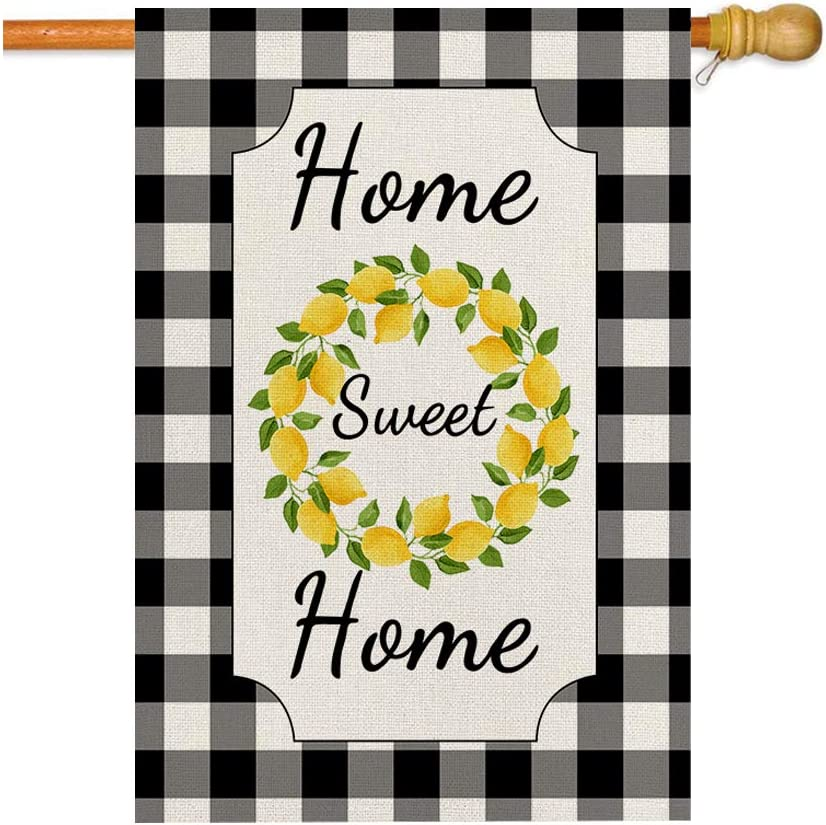 GOAUS Lemon Home Sweet Home Farmhouse Rustic Large Summer Welcome House Flag,Double Sided Burlap Decorative Garden Flags for Home Lawn Yard Indoor Outdoor Decor,28 x 40 Inch