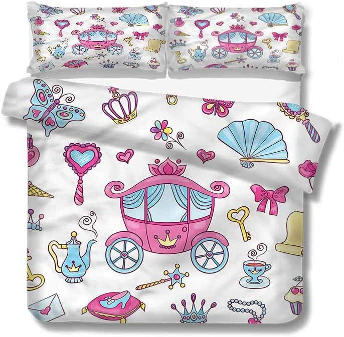 """Full Queen Duvet Cover Sets,Box Stitched,Soft,Breathable,Hypoallergenic,Fade Resistant 100% Cotton Reversible 3 Pieces Kids Girls Boys Bedding Sets-Girls Princess Tiara Wand Fairytale (79""""W x 79""""L)"""