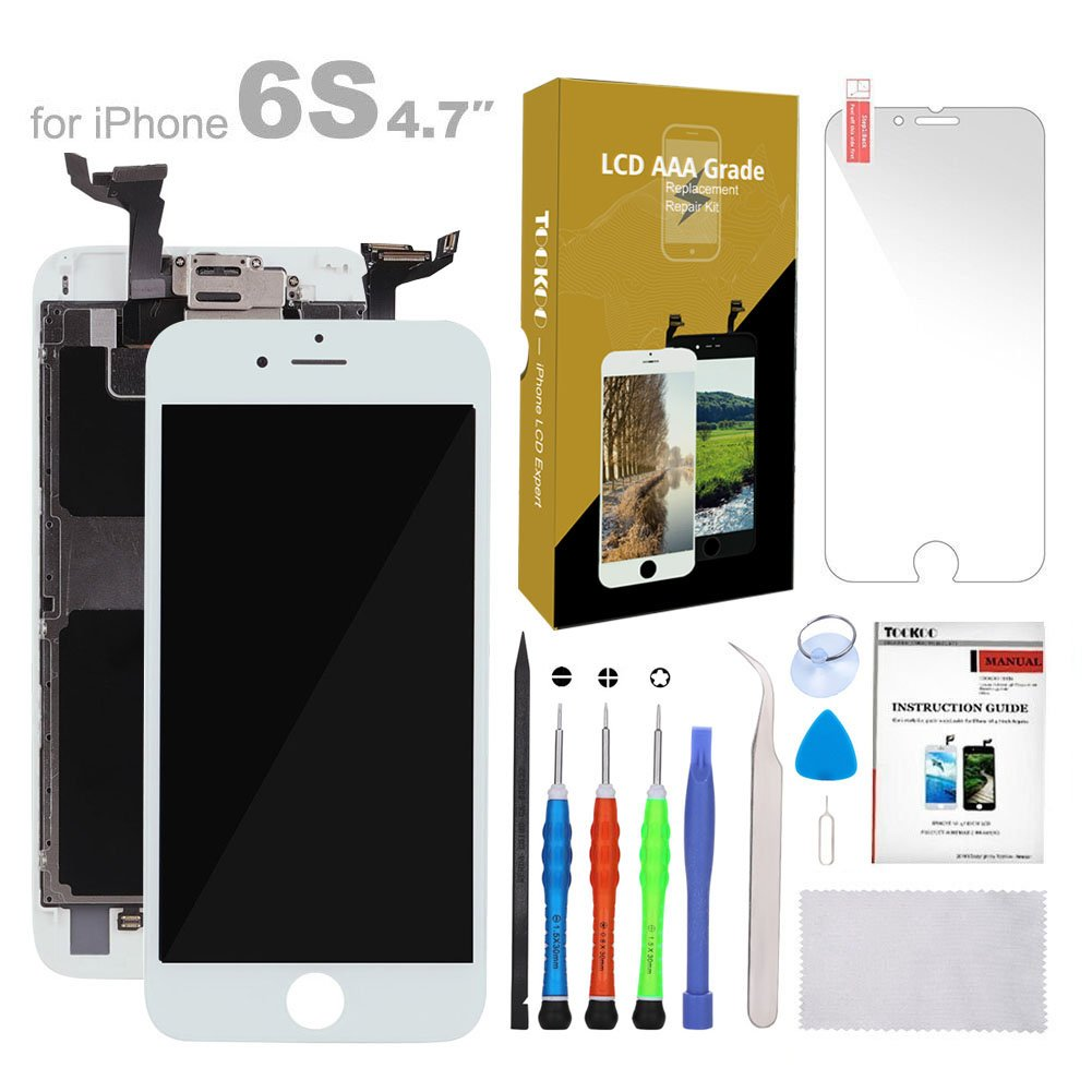 For iPhone 6s Screen Replacement 4.7'' White LCD Display with 3D Touch Screen Digitizer Frame Full Assembly + Free Screen Protector + Repair Tools Kit (White)