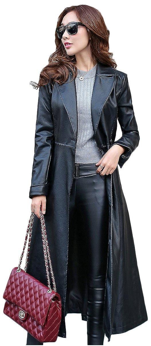f148dbcf2 Elezay Women's PU Leather Slim Fit Long Coat Maxi Jacket at Amazon Women's  Coats Shop