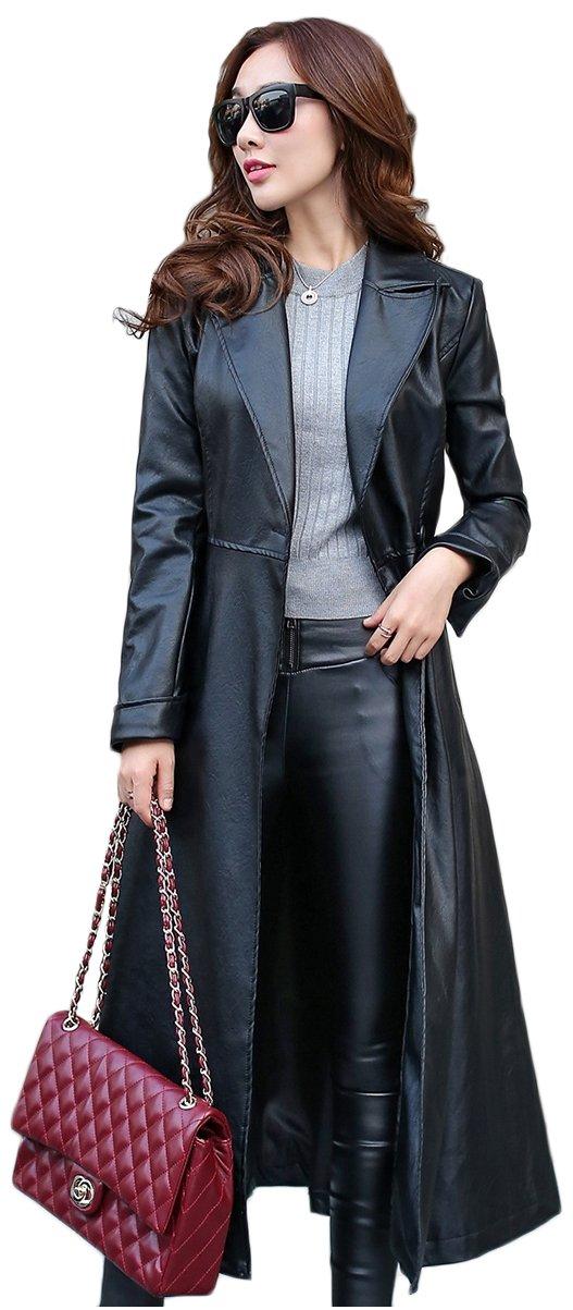 Elezay Women's Black Faux Leather Coat Fur Lining Slim Fit Long Coat Maxi Jacket Black&Fur Lining 12