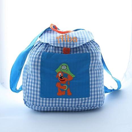 Bolsa mochila pirata, en tela vichy cuadros azules y blancos, personalizada con nombre.