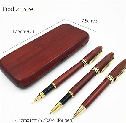 Juego de plumas de madera de arce con estuche de regalo (3 unidades): Amazon.es: Oficina y papelería