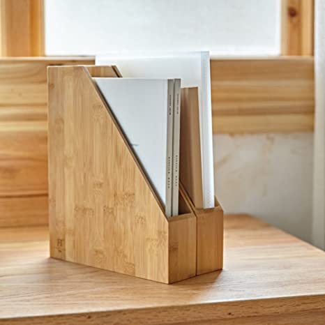 woodluv Bamboo Magazine Holder Letter Rack Paper Rack Desktop File Storage