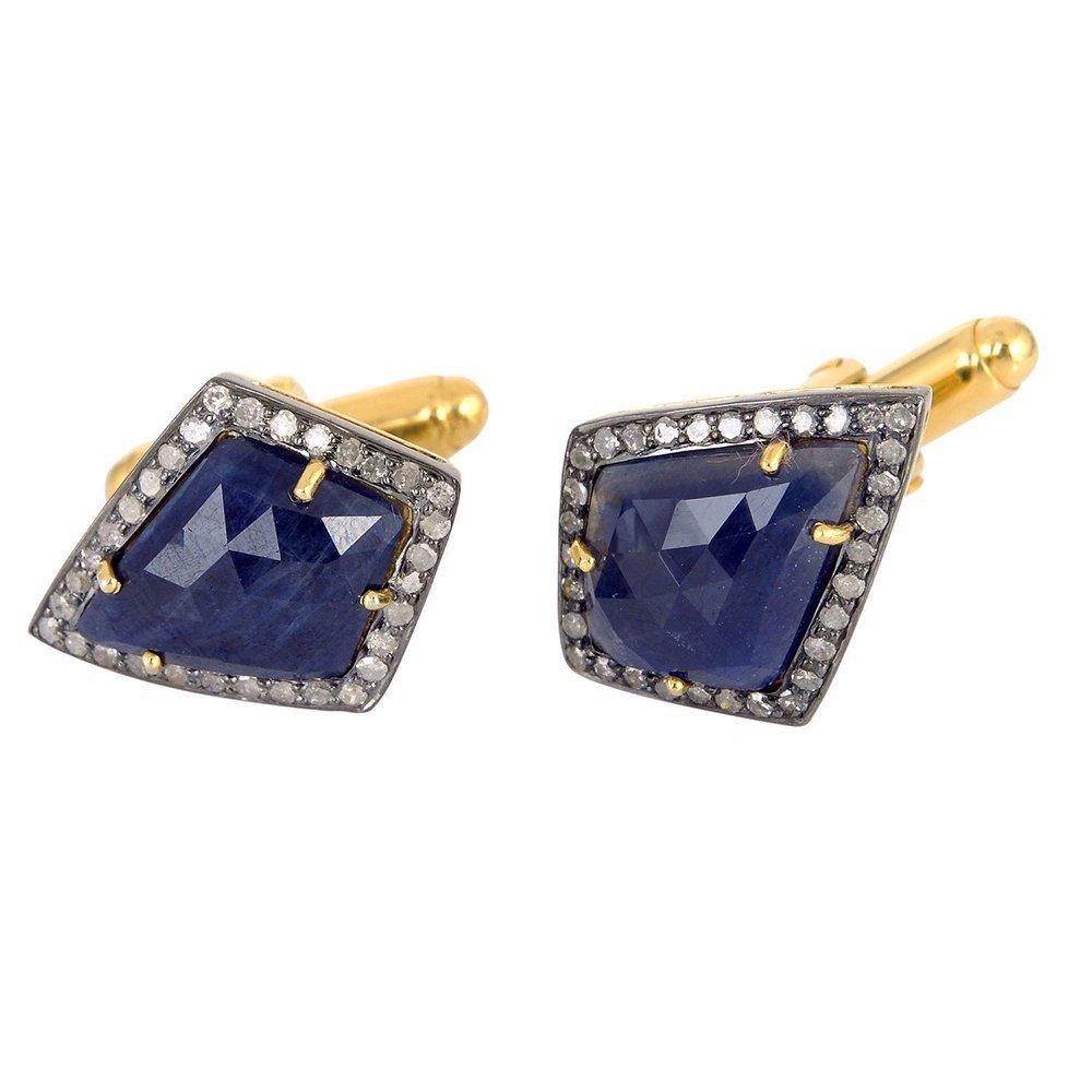 22.64ct Sapphire Diamond 14k Gold 925 Sterling Silver Designer Cufflinks Jewelry