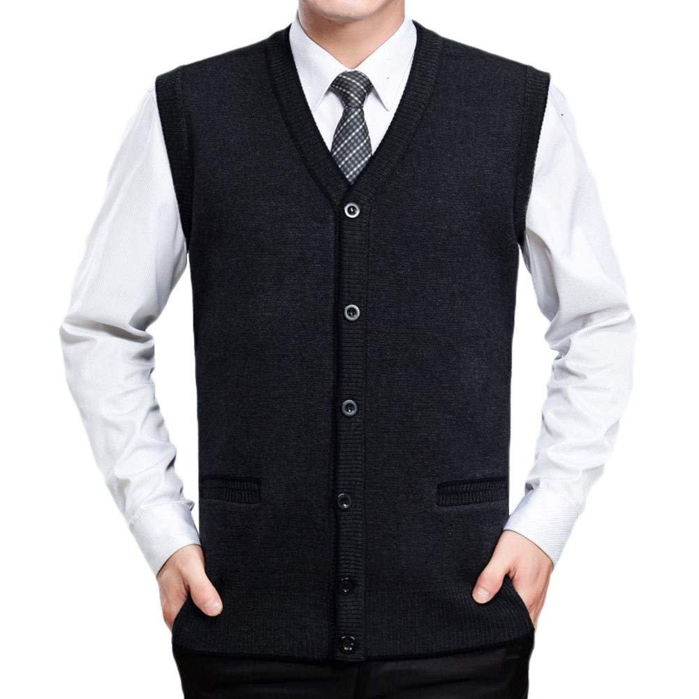 Men Sleeveless Classic Casual Style Knitwear Knitted Waistcoat Sweater Cardigans Tank Tops
