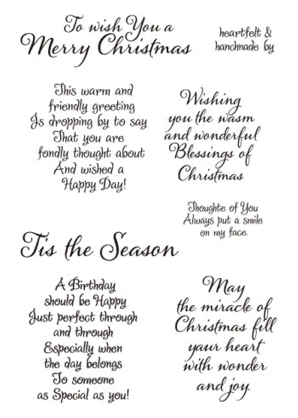 Christmas Sentiments For Cards.Merry Christmas Sentiments Sayings Phrase Rubber Clear Stamp