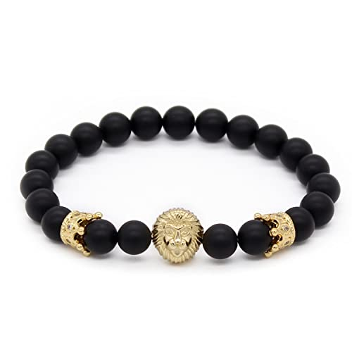b9feaf4694 POSHFEEL 8mm Black Onyx Stone Beads Gold Lion Head Imperial Crown Bracelets  for Men,7.5