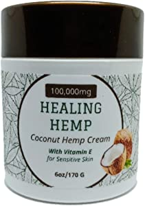 100,000mg Healing Hemp 6oz - Extra Strength Hemp Pain Relief Cream Coconut Scent - Pure Hemp Oil Extract for Arthritis, Joints, Back, Neck and Nerve Pain