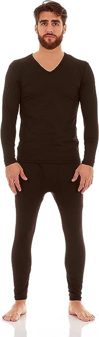 Tanming Mens V-Neck Seamless Thermal Underwear Long Johns Set with Velvet Lined
