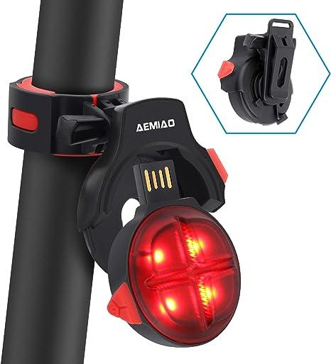 AEMIAO Luz Trasera para Bicicleta Wireless USB Recargable, Luz Bicicleta LED Sensor de Freno Inteligente Bici Luz de la Cola, Luces Ciclismo Impermeable, 5 Modos De Iluminación Seguridad Ciclismo: Amazon.es: Deportes y