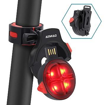 504b9ba50 AEMIAO Luz Trasera para Bicicleta Wireless USB Recargable, Luz Bicicleta  LED Sensor de Freno Inteligente